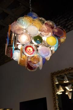 Vistosi 1 of 2 Large Multi Color Murano Glass Disk Chandelier Attributed to Vistosi - 1211177