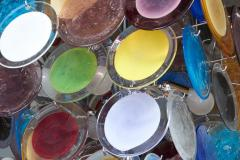Vistosi 1 of 2 Large Multi Color Murano Glass Disk Chandelier Attributed to Vistosi - 1211178