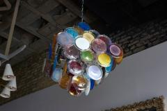 Vistosi 1 of 2 Large Multi Color Murano Glass Disk Chandelier Attributed to Vistosi - 1211179
