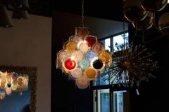 Vistosi 1 of 2 Large Multi Color Murano Glass Disk Chandelier Attributed to Vistosi - 1211180