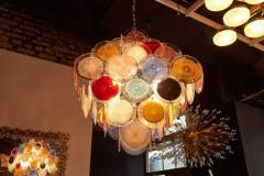 Vistosi 1 of 2 Large Multi Color Murano Glass Disk Chandelier Attributed to Vistosi - 1211181