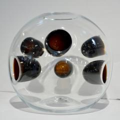Vistosi 1980s Vistosi Post Modern Purple Wine Color Crystal Murano Glass Round Vase - 2015346