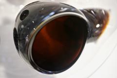 Vistosi 1980s Vistosi Post Modern Purple Wine Color Crystal Murano Glass Round Vase - 2015350