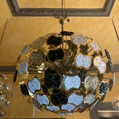 Vistosi Late 20th Century Brass and Multi Color Murano Glass Sputnik Chandelier - 1644308
