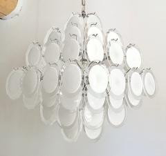Vistosi Mid Century Modern large white Murano glass disc chandelier Vistosi Italy 1980s - 2016852