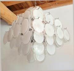 Vistosi Mid Century Modern large white Murano glass disc chandelier Vistosi Italy 1980s - 2016853
