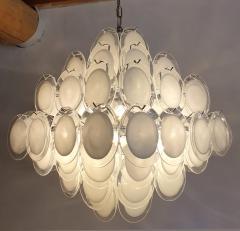 Vistosi Mid Century Modern large white Murano glass disc chandelier Vistosi Italy 1980s - 2016854