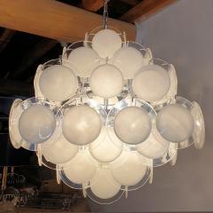 Vistosi Mid Century Modern large white Murano glass disc chandelier Vistosi Italy 1980s - 2016855