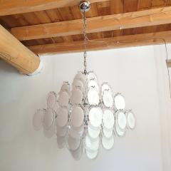 Vistosi Mid Century Modern large white Murano glass disc chandelier Vistosi Italy 1980s - 2016856