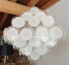 Vistosi Mid Century Modern large white Murano glass disc chandelier Vistosi Italy 1980s - 2016857