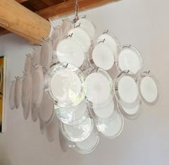 Vistosi Mid Century Modern large white Murano glass disc chandelier Vistosi Italy 1980s - 2016858