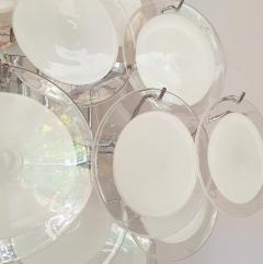 Vistosi Mid Century Modern large white Murano glass disc chandelier Vistosi Italy 1980s - 2016859
