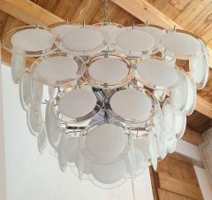 Vistosi Mid Century Modern large white Murano glass disc chandelier Vistosi Italy 1980s - 2016860