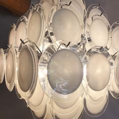 Vistosi Mid Century Modern large white Murano glass disc chandelier Vistosi Italy 1980s - 2016861