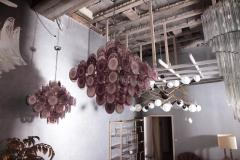 Vistosi Monumental Amethyst Color Murano Glass Disk Chandelier by Vistosi - 706475