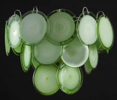 Vistosi Pair of Green Vistosi Disc Murano Chandelier 1970s - 1774892