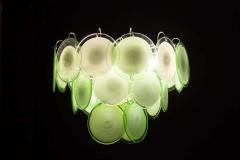 Vistosi Pair of Green Vistosi Disc Murano Chandelier 1970s - 1774895