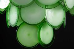 Vistosi Pair of Green Vistosi Disc Murano Chandelier 1970s - 1774904