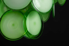 Vistosi Pair of Green Vistosi Disc Murano Chandelier 1970s - 1774907