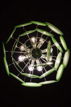 Vistosi Pair of Green Vistosi Disc Murano Chandelier 1970s - 1774910