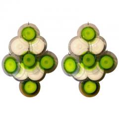 Vistosi Pair of Green Vistosi Disc Murano Chandelier 1970s - 1774913