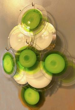 Vistosi Pair of Green and White Vistosi Disc Murano Glass Sconces or Wall Light 1970s - 1567744