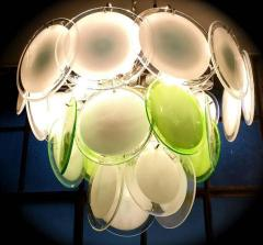 Vistosi Pair of Green and White Vistosi Disc Murano Glass Sconces or Wall Light 1970s - 1567745