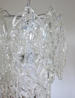 Vistosi Vintage Italian Chandelier w Clear Murano Glass Designed by Vistosi c 1960s - 2125534