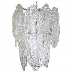 Vistosi Vintage Italian Chandelier w Clear Murano Glass Designed by Vistosi c 1960s - 2125535