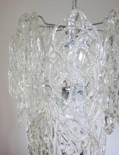 Vistosi Vintage Italian Chandelier w Clear Murano Glass Designed by Vistosi c 1960s - 2125536