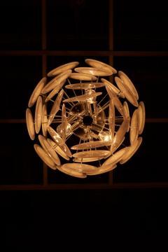 Vistosi White Iridescent Murano Glass Disc Chandelier Attributed to Vistosi - 1101202