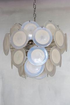 Vistosi White Iridescent Murano Glass Disc Chandelier Attributed to Vistosi - 1101203