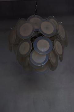 Vistosi White Iridescent Murano Glass Disc Chandelier Attributed to Vistosi - 1101204