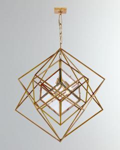 Visual Comfort Company Modern Kelly Wearstler Cubist Gilt Metal Light Fixture Chandelier - 2142234