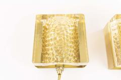 Vitrika Pair of Kalmar glass and brass Wall lamps in gold by Vitrika 1970s - 1426813