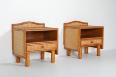 Vivai del Sud Bamboo rattan bed side tables Vivai del Sud 1970s - 1638225