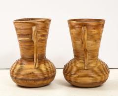 Vivai del Sud Pair of Vivai del Sud Italian Rattan Vases with Handles - 1812537