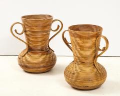 Vivai del Sud Pair of Vivai del Sud Italian Rattan Vases with Handles - 1812538