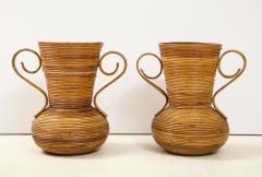 Vivai del Sud Pair of Vivai del Sud Italian Rattan Vases with Handles - 1812539