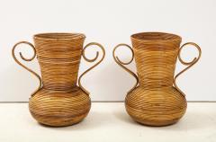 Vivai del Sud Pair of Vivai del Sud Italian Rattan Vases with Handles - 1812540