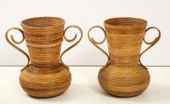 Vivai del Sud Pair of Vivai del Sud Italian Rattan Vases with Handles - 1812558