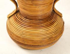Vivai del Sud Pair of Vivai del Sud Italian Rattan Vases with Handles - 1812559
