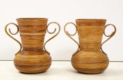 Vivai del Sud Pair of Vivai del Sud Italian Rattan Vases with Handles - 1812560