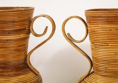 Vivai del Sud Pair of Vivai del Sud Italian Rattan Vases with Handles - 1812561