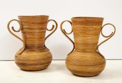 Vivai del Sud Pair of Vivai del Sud Italian Rattan Vases with Handles - 1812574