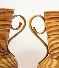 Vivai del Sud Pair of Vivai del Sud Italian Rattan Vases with Handles - 1812575