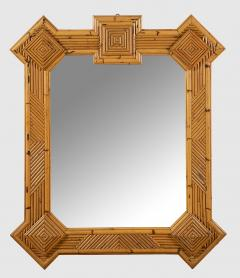 Vivai del Sud Rare XL rattan bamboo mirror Maurizio Mariani for Vivai Del Sud Roma 1970s - 1336133