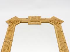 Vivai del Sud Rare XL rattan bamboo mirror Maurizio Mariani for Vivai Del Sud Roma 1970s - 1336135