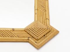 Vivai del Sud Rare XL rattan bamboo mirror Maurizio Mariani for Vivai Del Sud Roma 1970s - 1336136