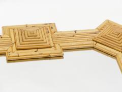 Vivai del Sud Rare XL rattan bamboo mirror Maurizio Mariani for Vivai Del Sud Roma 1970s - 1336139
